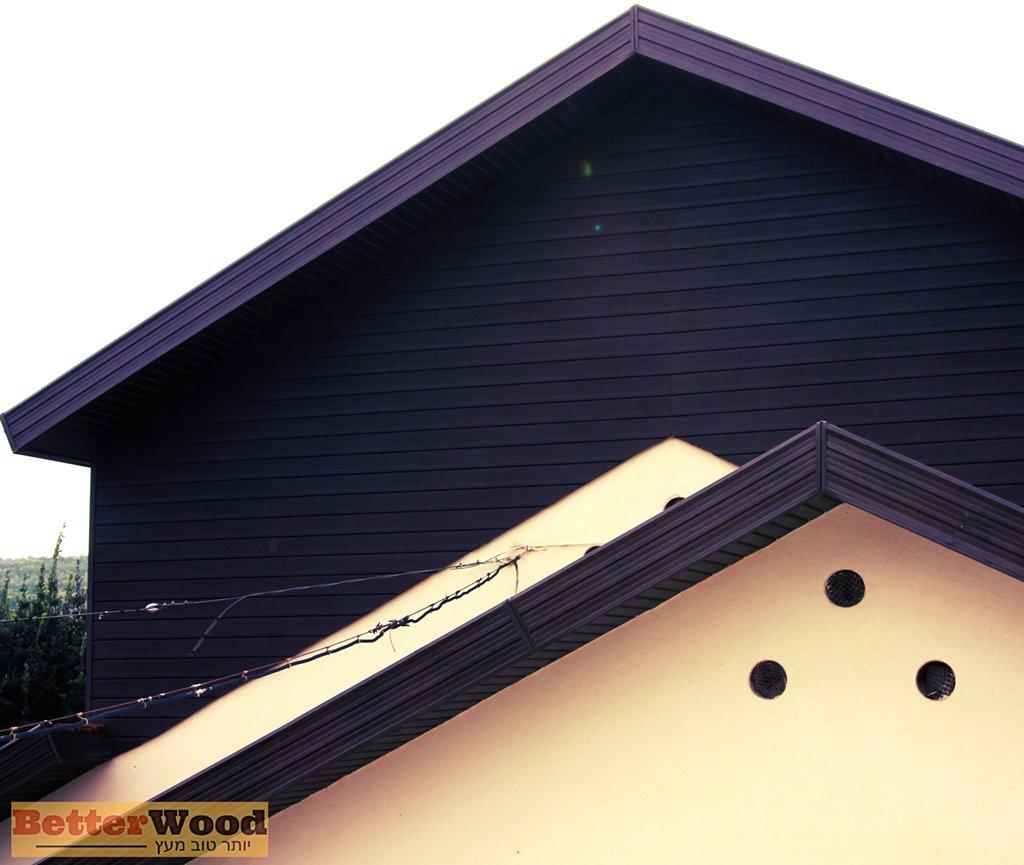חיפוי בשיפוע חיפוי חוץ לבית פרטי בלוחות דמוי עץ של BETTERWOOD