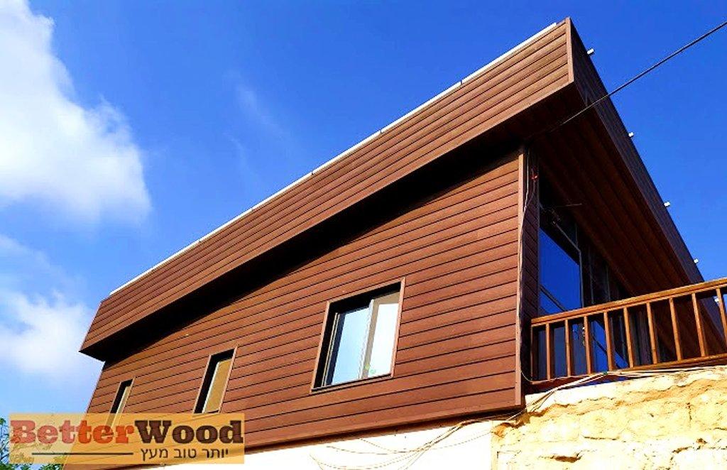 חיפוי חוץ לבית פרטי בלוחות דמוי עץ של BETTERWOOD קומה ב' חזית